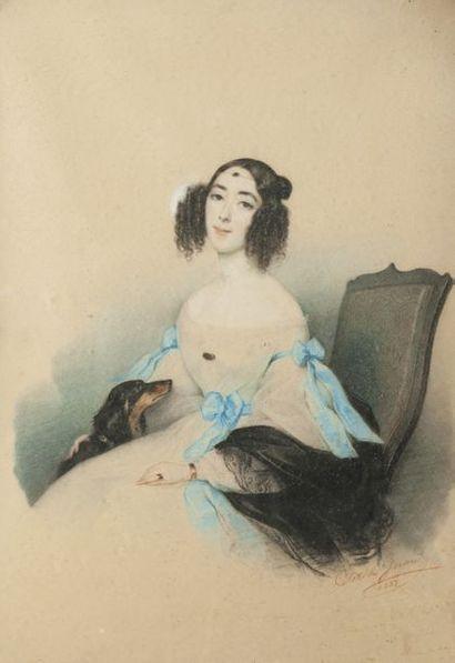 CLOTILDE GERARD (1806-1904) Portrait d'Augustine de Lauhannier, née Duflos de Saint...