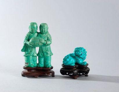 ENSEMBLE composé de deux statuettes en turquoise...