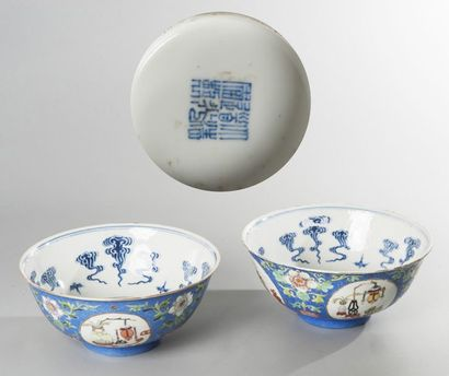 Paire de bols en porcelaine à décor en émaux...