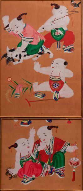 Chine Deux peintures à la gouache figurant...