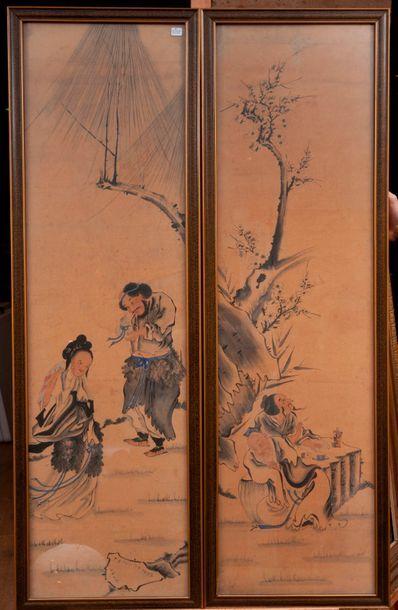 Chine. Deux encres et aquarelles sur papier...