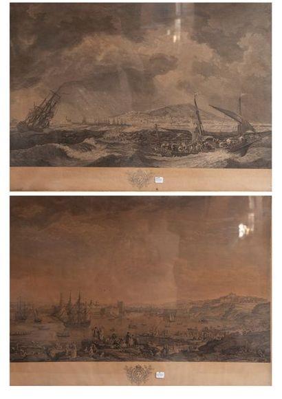 Les ports d'après Vernet - Deux estampes...