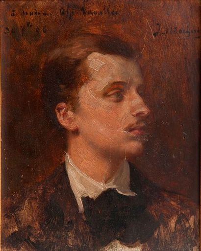 Ecole du XIXe siècle. Portrait. Panneau.