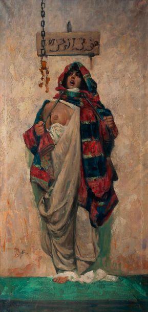 Ecole orientaliste, femme dévoilant un sein,...