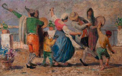 Ecole Italienne, Danse napolitaine toile...
