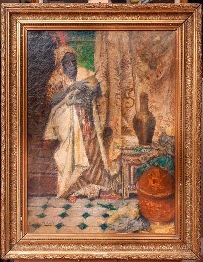 Ecole orientaliste, chez l'antiquaire, toile...