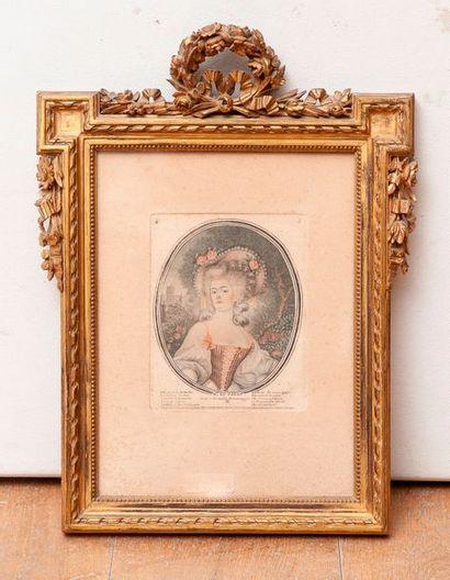 Gravure en couleur figurant Madame du Gazon...