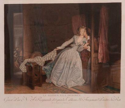 D'après Fragonard par Regnault, le Baisé...