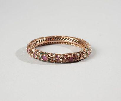Bracelet rigide en métal doré, pierre dure...
