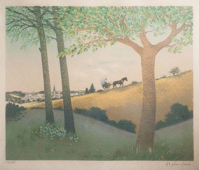 Maurice GHIGLION-GREEN (1913-1989)  La carriole...