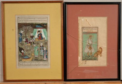Lot de deux miniatures persanes (en l'ét...
