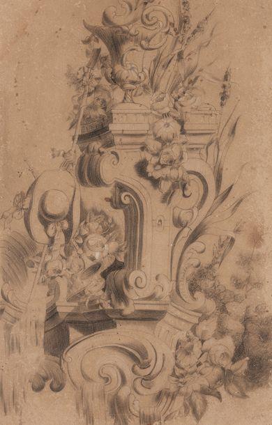 Ecole FRANCAISE du XIXème siècle  Etude décorative...