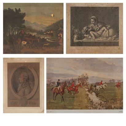Un ensemble de cadres et gravures divers