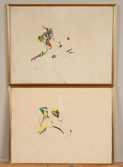 Leonor FINI, compositions, deux estampes...
