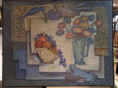 Marguerite DU MAY, Nature morte aux fleurs, huile sur toile, signée en bas à droite....