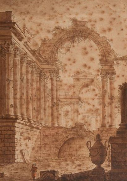 Ecole FRANCAISE du XVIIIe siècle.  Ruines...