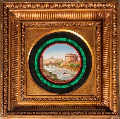 Le château Saint-Ange, Rome et le Vatican  Tableau de micromosaique dans un encadrement...