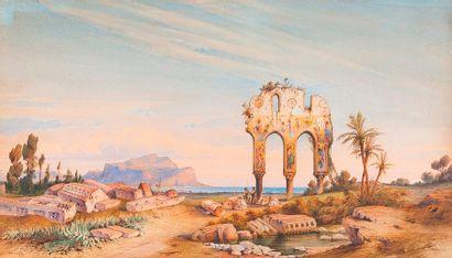 Gabriel CARELLI (1821-1900)  Ruine à Palerme...