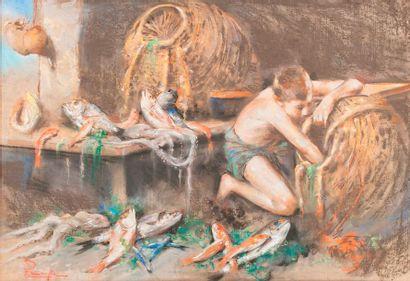 Ecole du XIXe siècle  Le jeune pêcheur  Pastel,...