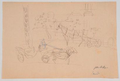 Jean DUFY  Cabriolets à Séville  Crayon noir,...