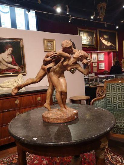 LAMBAUX  Le baiser  Sculpture en terre cuite....