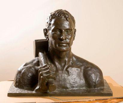 Emile MONIER (1883-1970)  Buste de travailleur...