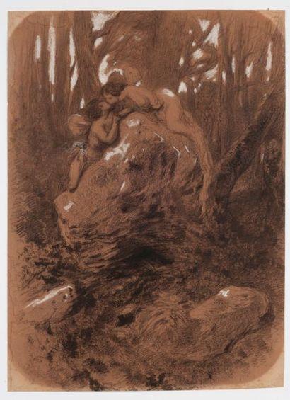 Attribué à Gustave DORE (1832-1883)  Le baiser...