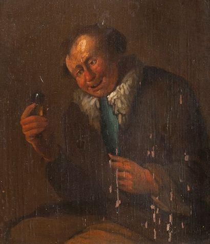 Ecole FLAMANDE du XVIIe siècle  Le buveur...