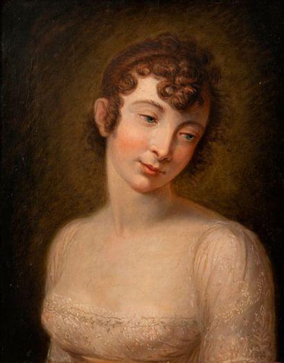 Ecole FRANCAISE vers 1830  Portrait de jeune...
