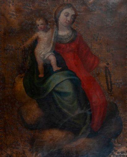 Ecole ESPAGNOLE du XVIIème siècle  La Vierge...