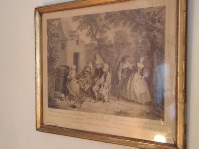 Paire de gravures  D'après Lancret  XIXe...