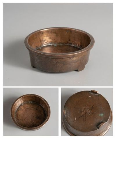 BRULE PARFUM en bronze à patine brune à décor...