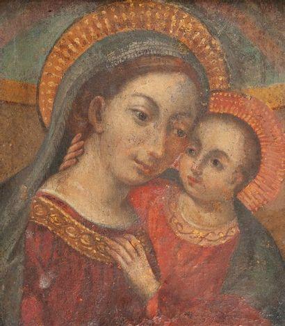 école de Cuzco, Vierge à l enfant,Toile 36...