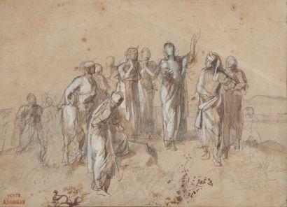 ANDRIEUX, Scène mythologique,craie, crayon....