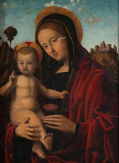 Ecole italienne, style XVème, vierge à l enfant,toile, accident, enfoncements. 48...