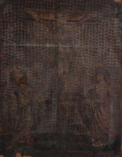 école espagnole XVIIème, crucifix,cuir estampé et peint. Usures 53 x 42 cm