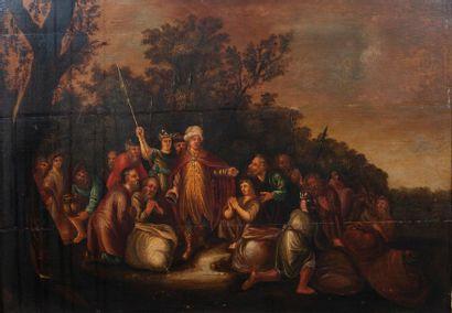 Ecole XVIIIème, la charité orientale,panneau renforcé. 58 x 83 cm