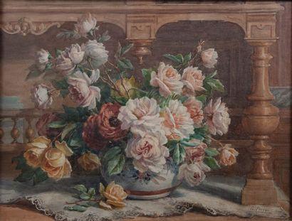 C.PERRIN, roses,gouache signée. 48 x 64 cm...