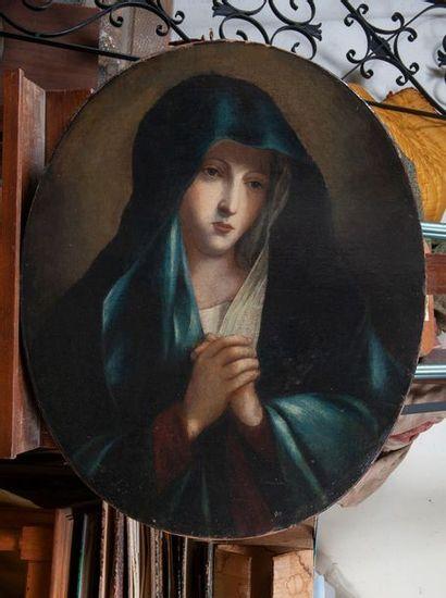 Bellini ( d'après), Vierge en prière,toile ovale. 70 x x57 cm