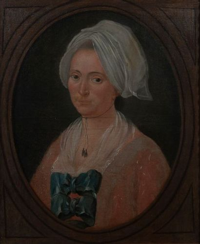 D après le XVIIIème, portrait de femme,toile...