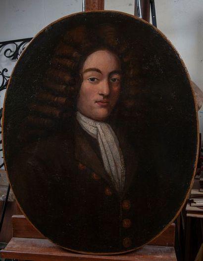 Ecole début XVIIIe, Portrait d'homme,toile...