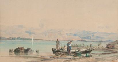 H. BONNEFOI, Paysage, famille dans une barque,aquarelle...