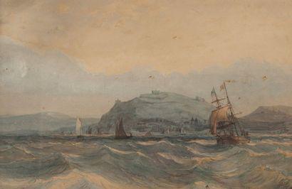 école anglaise du XIXème, Marine ,aquarelle...