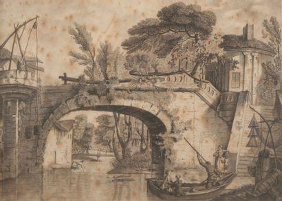 Ecole française vers 1820, Le pont , la barque,crayon noir 26 x 36 cm (à vue)