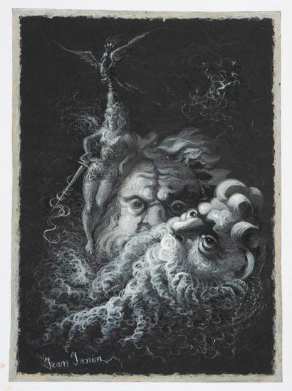 Jean JANIN. Scène de mythologie. Gouache....