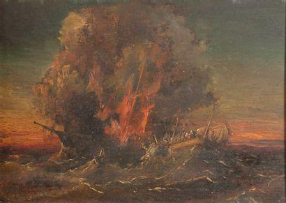 Ecole de la fin du XIX, L explosion du Navire,panneau 22 x 31 cm