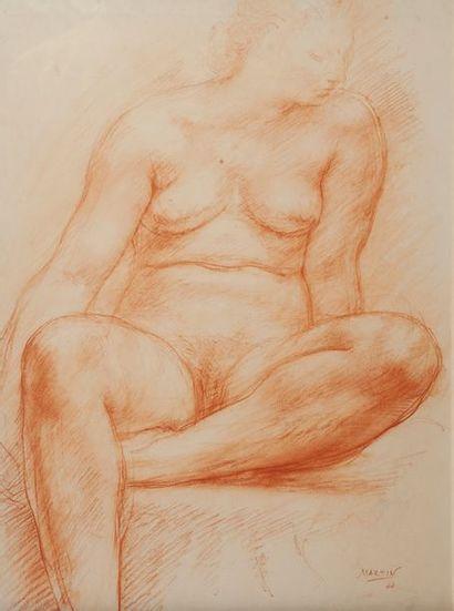 Martin, Nue,sanguine datée 44. 37 x 29 cm