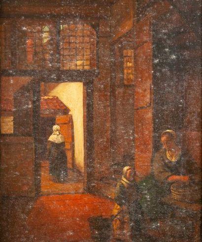 école XIXème d'après Vermeer, Intérieur,toile...