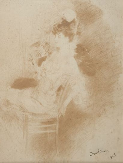 ECOLE ITALIENNE vers 1900, femme à l'éventail,...