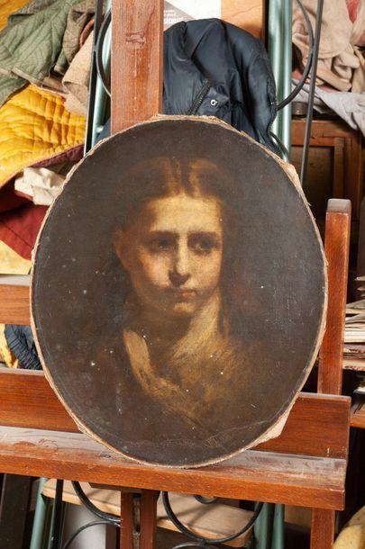 Ecole fin XIXème, jeune fille,Toile 40 x...
